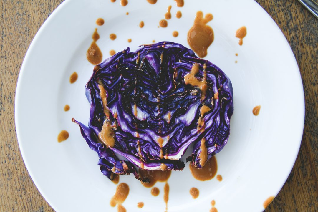 Purple Cabbage Steaks With Peanut Butter Sauce - The